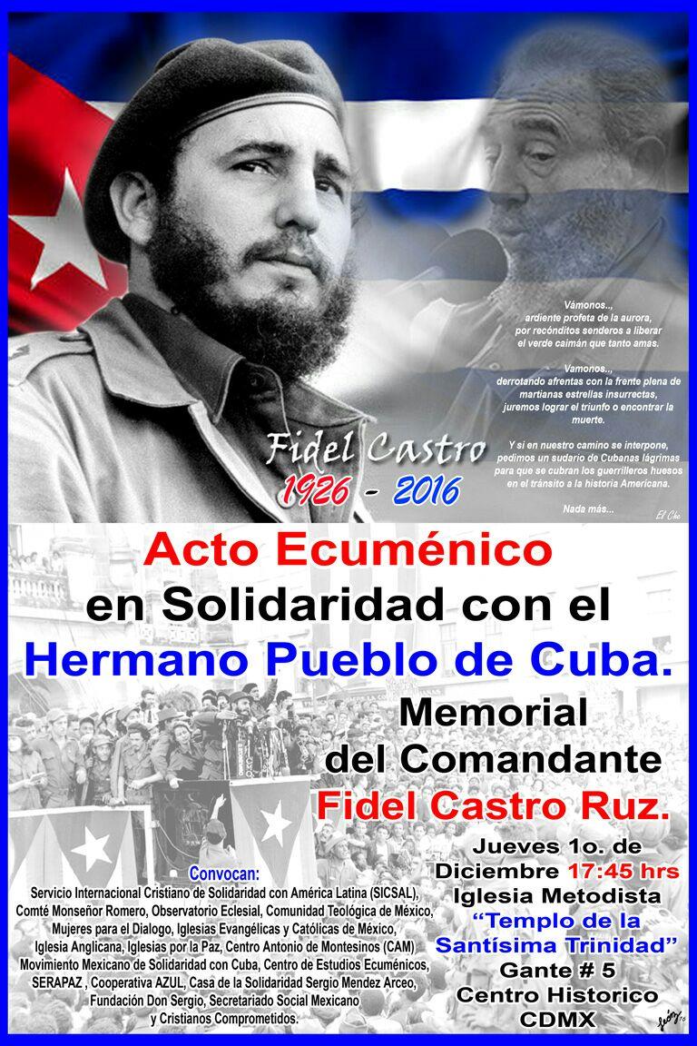 Mensaje de Fray Miguel Concha Malo, O.P. con ocasión del Acto Ecuménico de memoria y esperanza realizado en México el pasado 1 de diciembre por el fallecimiento del Comandante Fidel Alejandro Castro Ruz